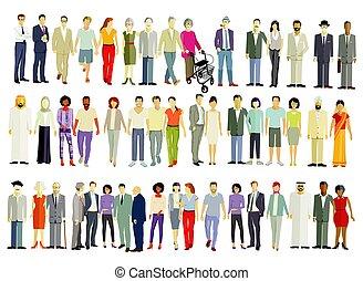 grand, gens, groupe, isolé, différent, -, vecteur, illustration.eps