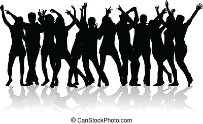 grand, gens, groupe, jeune, danse