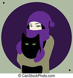 grand, girl, chaud, mitaines, chat, mignon, écharpe, tenue, violet, chapeau noir
