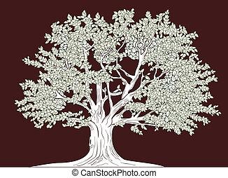 grand, graphique, vecteur, arbre, dessin