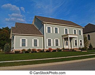 grand, gris, deux-histoire, maison