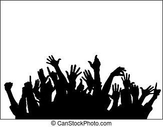 grand groupe, élévation, mains