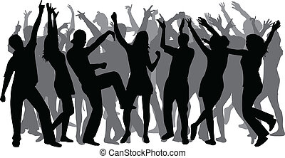 grand groupe, disco-dancing, gens