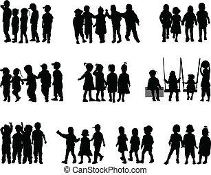 grand groupe, enfants