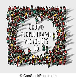 grand, groupe, frame., foule, gens