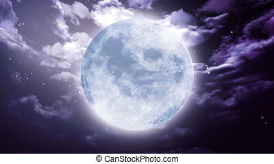 grand, halloween, lune