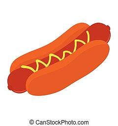 grand, hot-dog, isolé, blanc, arrière-plan., moutarde