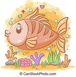 grand, illustration, saumon, mer, brun, sous