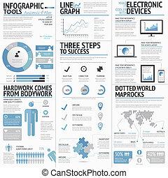 grand, infographic, ensemble, éléments
