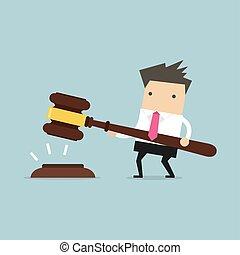 grand, justice., mains, marteau, homme affaires, prise