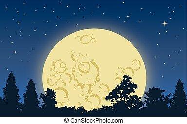 grand, levée, lune