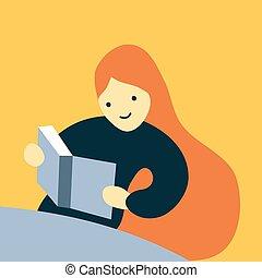 grand, longs cheveux, vecteur, illustration, étudiant, lecture fille, livre, heureux