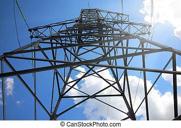 grand, mât, ciel, électrique, contre