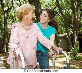 grand-mère, &, adolescent, rire