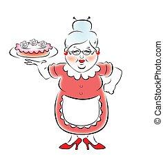 grand-mère, cuit, ca, mon, délicieux