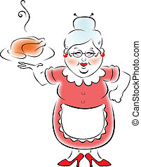 grand-mère, cuit, mon, dîner.