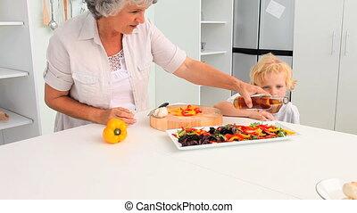 grand-mère, elle, cuisine, grands