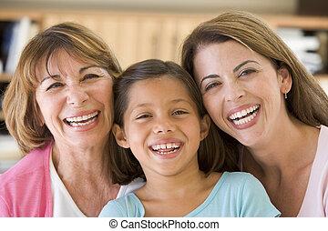 grand-mère, petite-fille, fille, adulte