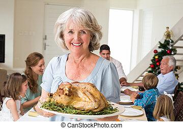 grand-mère, repas noël, heureux