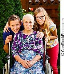 grand-mère, visiter