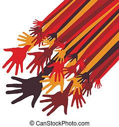 grand, mains, groupe, design.