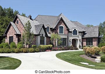 grand, maison, brique, allée, circulaire