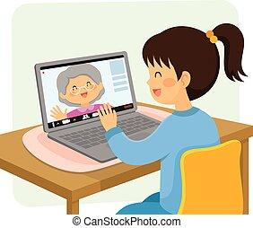 grand-maman, bavarder, vidéo