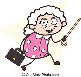 grand-maman, illustration, courant, vecteur, valise, dessin animé