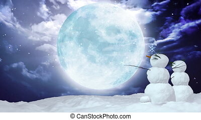 grand, noël, snowmen, lune