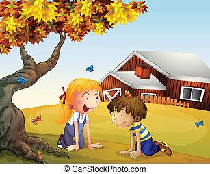 grand, papillons, gosses, arbre, jouer