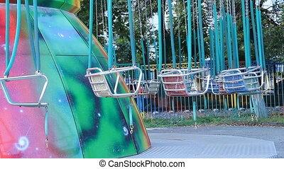 grand, parc, amusement, carrousel