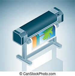 grand, photo, imprimante, /, traceur