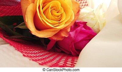 grand plan, roses, révéler, orange, bouquet nuptial, rose, coup