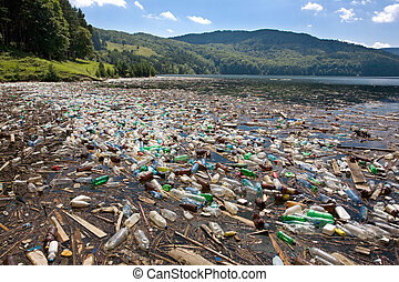 grand, plastique, pollution