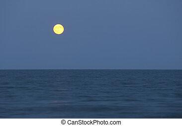 grand, pleine lune, océan