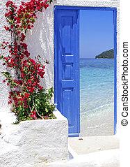 grand, porte, île, traditionnel, grec, santorini, grèce, vue