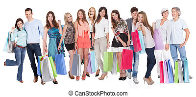 grand, sacs, achats, groupe, gens