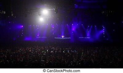 grand, salle, dj, saut, audience, délirer, fête, étape