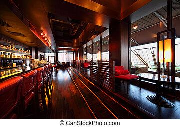 grand, sièges, vide, chaises, tables, rang, compteur, barre rouge, confortable, restaurant