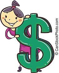 grand, signe dollar, crosse, girl, gosse