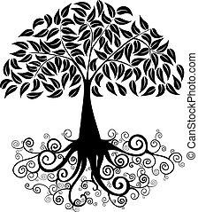 grand, silhouette, arbre