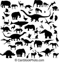 grand, silhouettes, ensemble, animaux