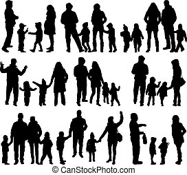 grand, silhouettes, group., -, famille