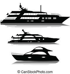 grand, silhouettes, vecteur, yachts
