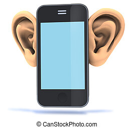 grand, smartphone, oreilles