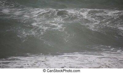 grand, sombre, orage, mer, vagues, temps, terne