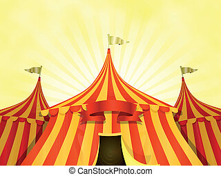 grand sommet, cirque, bannière, fond