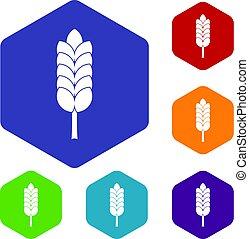 grand, spica, hexagone, ensemble, icônes