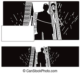 grand, stockage, city., illustration., homme