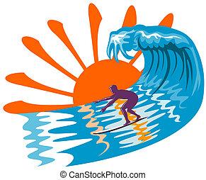 grand, surfer, vagues
